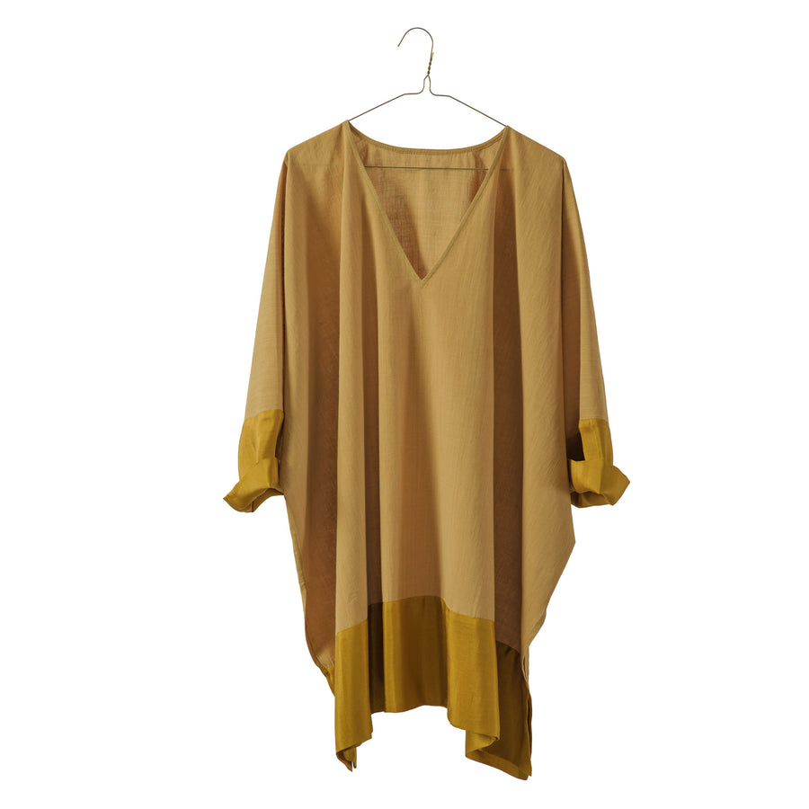 Cotton Wide Tunic with Silk Border