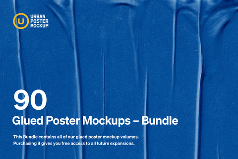 Glued Poster Paper Mockup Bundle