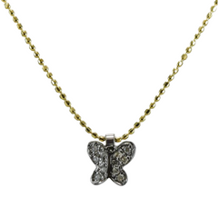 Diamond Butterfly Necklace in 18ct Yellow Gold