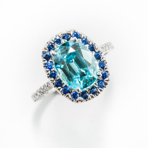 blue zircon and blue sapphire ring