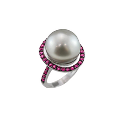 Pearls and Pink Sapphire Ring | Pearl Jewellery Perth | Brinkhaus Jewellers Claremont