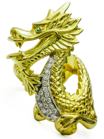 chinese new year gold dragon ring