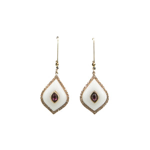 White Agate & Pink Tourmaline Diamond Dangly Earrings in 18ct Rose Gold