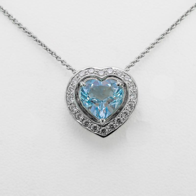 Aquamarine Love Heart Necklace in 18ct White Gold with Diamonds