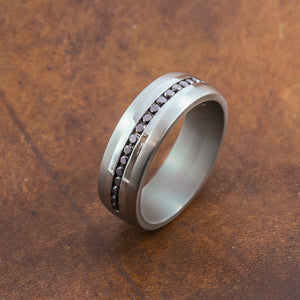 black diamond titanium mens wedding ring