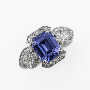 Emerald Cut Blue Ceylon Sapphire Ring in Platinum