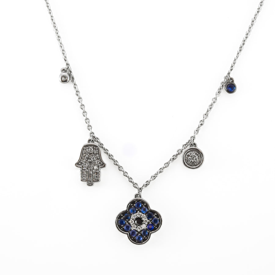 Diamond & Sapphire 18ct White Gold Necklace