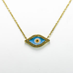 Third Eye Diamond & Enamel Necklace in 18ct Yellow Gold