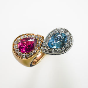 Aquamarine & Pink Tourmaline Diamond Ring in 18ct White & Yellow Gold