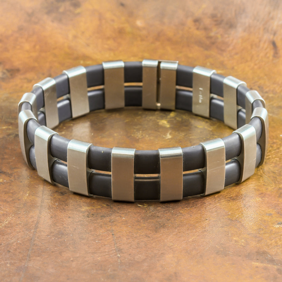 Men's Bracelet in Stainless Steel & Neoprene