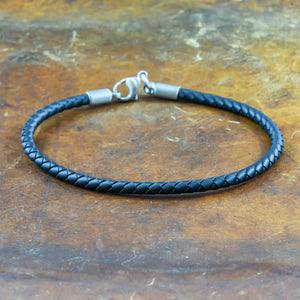 men's bracelet in stainless steel and neoprene