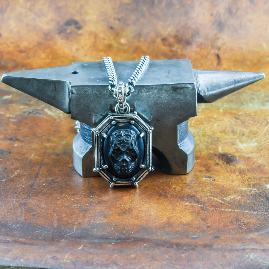 Men's Skull Necklace in Sterling Silver