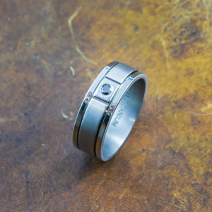Men's Black Diamond Ring in Titanium