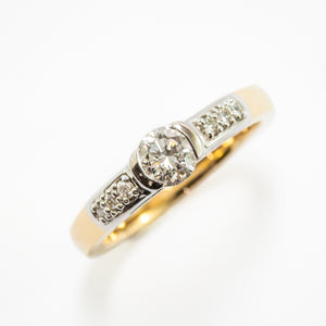 Round Brilliant Cut Engagement Ring in White & Yellow Gold