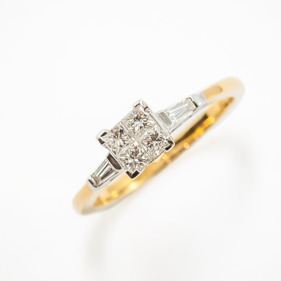 Princess Cut Engagement Ring in 18ct White & Yellow Gold