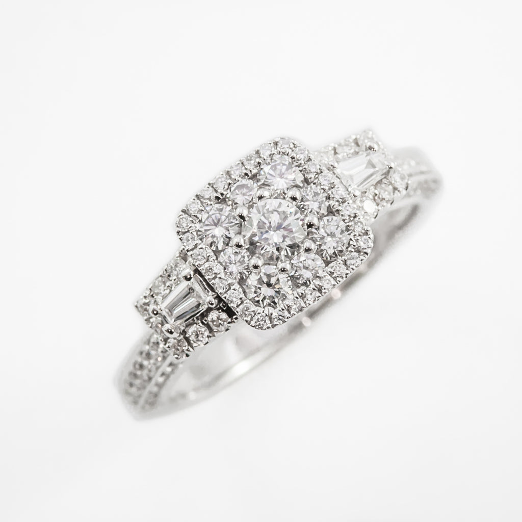 Cluster Engagement Ring in White Gold
