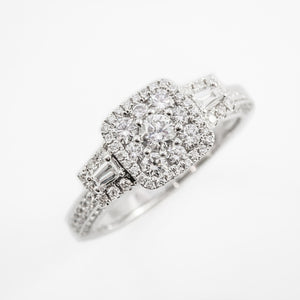 Cluster Engagement Ring in 18ct White Gold