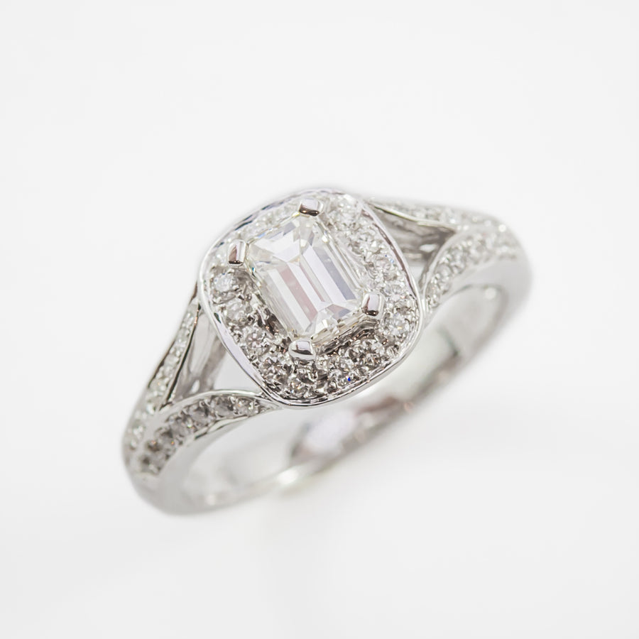 Emerald Cut Diamond Engagement Ring in 18ct White Gold
