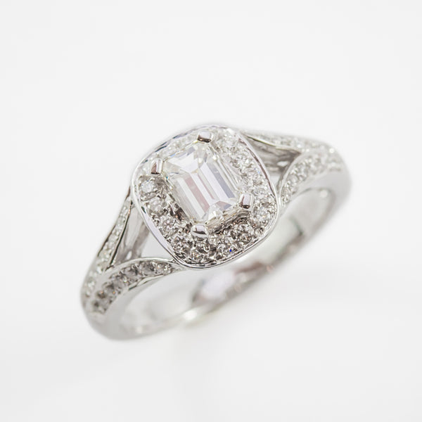 Emerald Cut Engagement Ring in White Gold