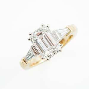 Emerald Cut Diamond Engagement Ring in 18ct Yellow Gold & Platinum
