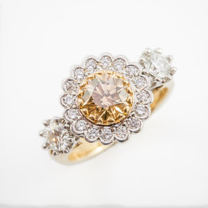 Champagne Round Brilliant Cut Engagement Ring in White & Yellow Gold