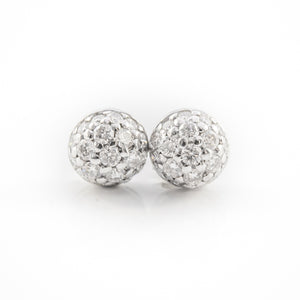 Dome Ear Studs in White Gold with Diamonds