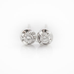 Round Brilliant Cut Studs in White Gold