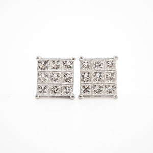 Princess Cut Diamond Earrings in White Gold