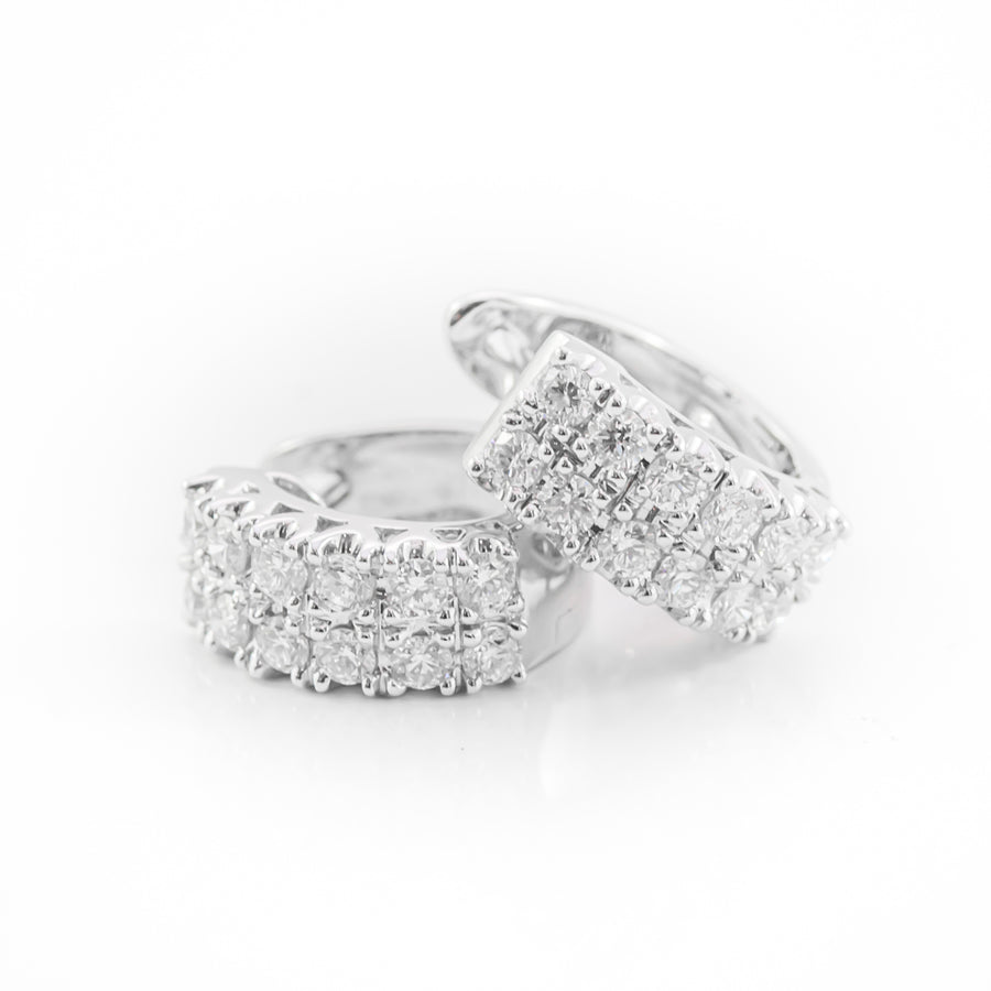 Round Brilliant Cut Diamond Hoop Earrings in 18ct White Gold