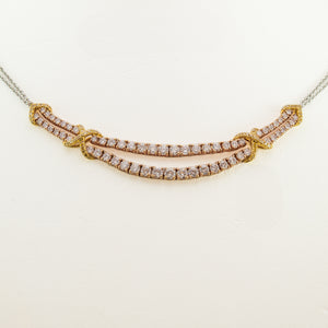 Pink Champagne Diamond Necklace in Yellow & White Gold