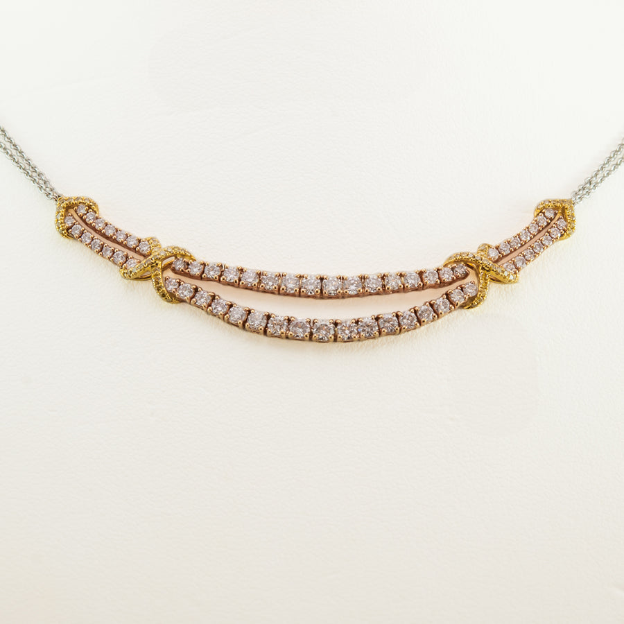 Pink Champagne Diamond Necklace in 18ct Yellow & White Gold