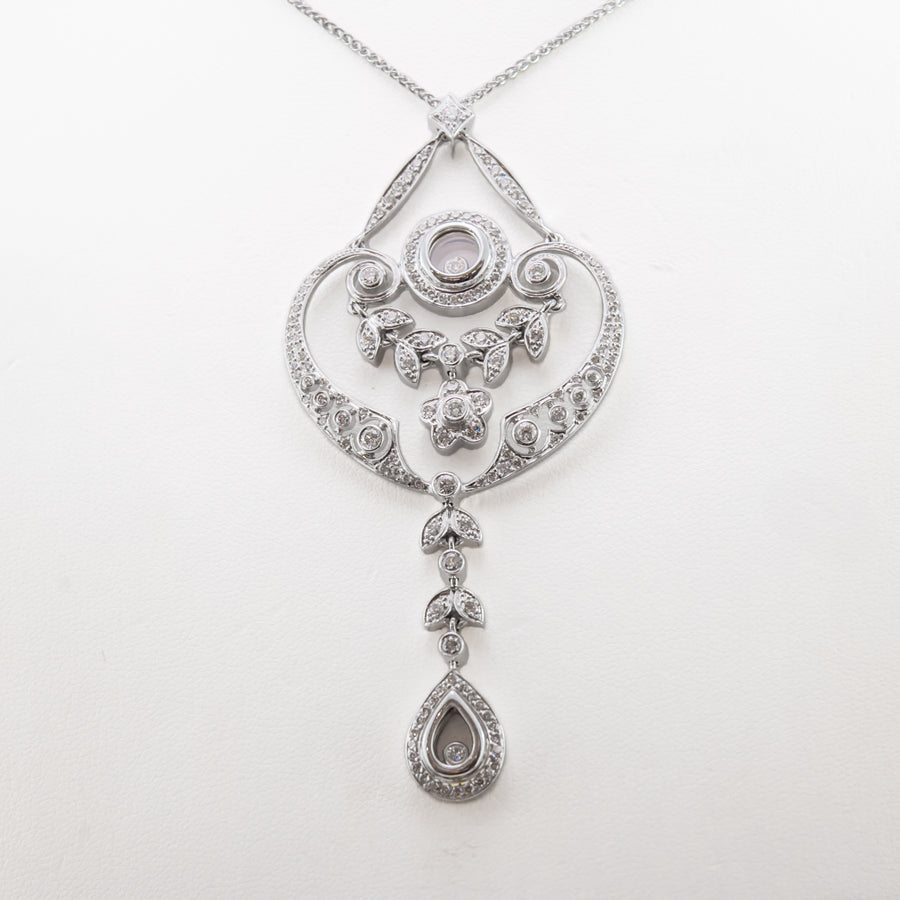 Diamond Pendant & Chain in 18ct White Gold