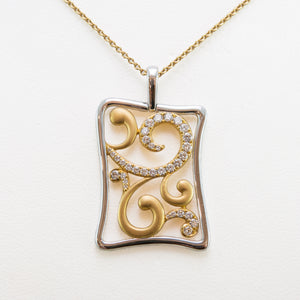 Curved Necklace in 18ct Yellow & White Gold with Diamonds