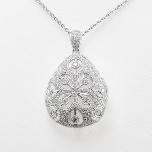 Ornate Necklace in White Gold with Diamonds