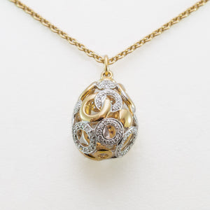 Drop Necklace in 18ct Yellow & White Gold With Diamonds