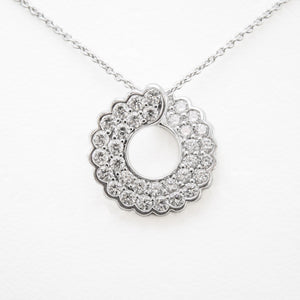 Circle Necklace in 18ct White Gold With Diamonds