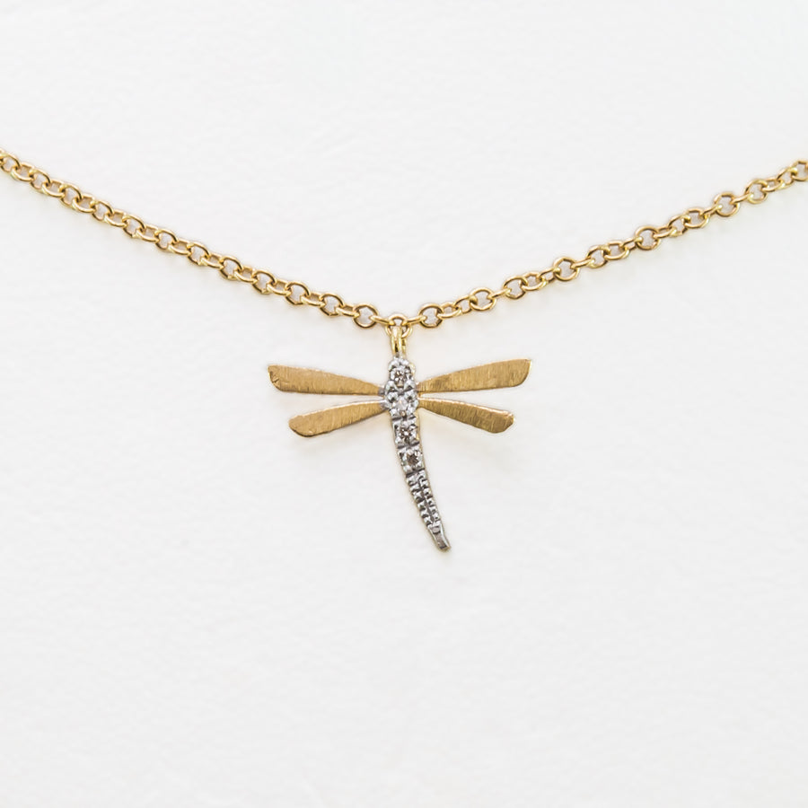 Dragonfly Necklace in 18ct Yellow Gold With Diamonds