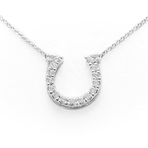Horse Shoe Necklace in White Gold With Diamonds
