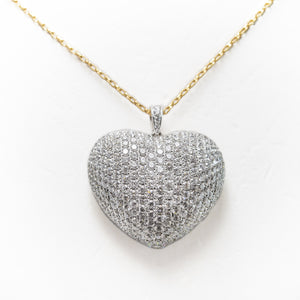 Love Heart Necklace in White & Yellow Gold With Diamonds