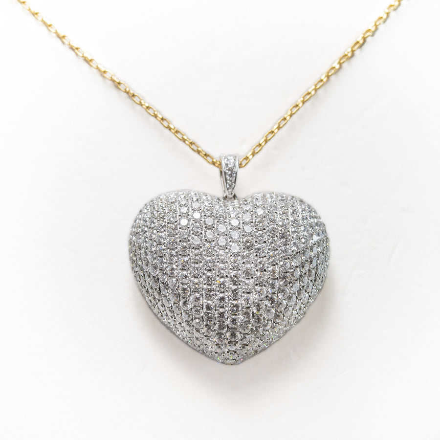 Love Heart Necklace in 18ct White & Yellow Gold With Diamonds