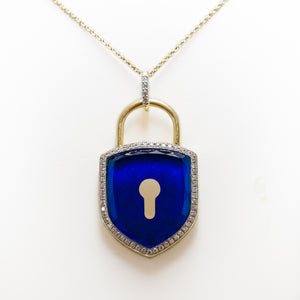 Lapis Lock Necklace in 18ct Yellow Gold With Diamonds