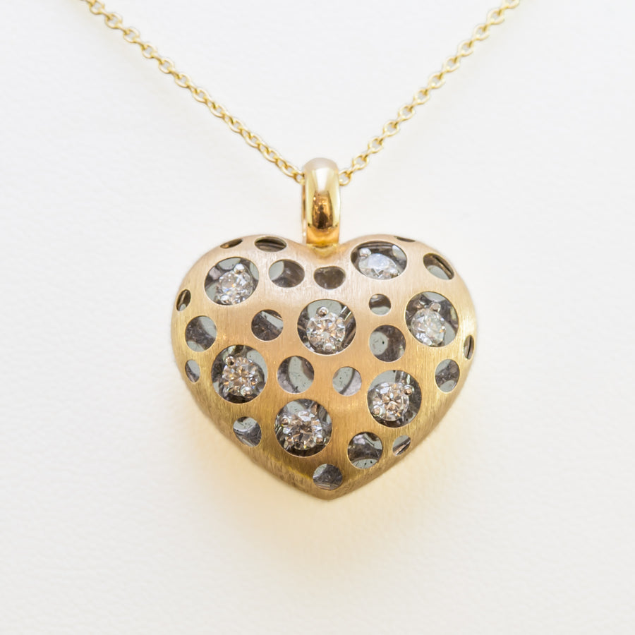 Love Heart Necklace in 18ct Yellow Gold With Diamonds