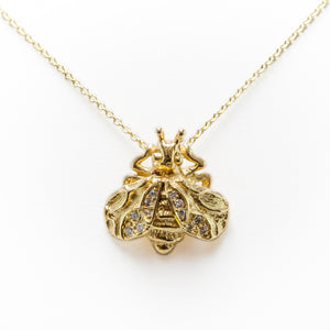 Diamond Bee Necklace in 18ct Yellow Gold With Diamonds
