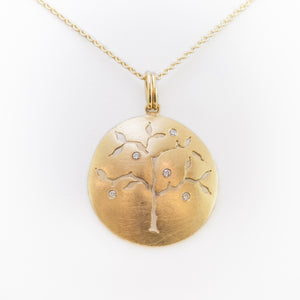 Tree of Life Necklace in Yellow Gold with Diamonds