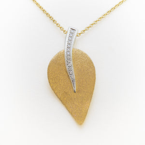 Leaf Necklace in 18ct Yellow & White Gold with Diamonds