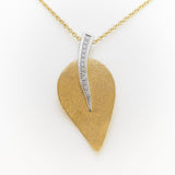 Leaf Necklace in Yellow & White Gold with Diamonds