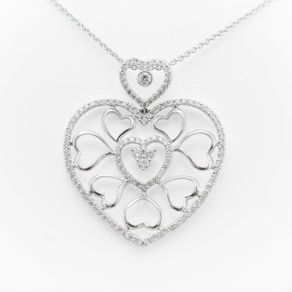 One 18 Carat White Gold Heart Pendant and Chain