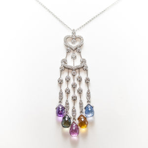 Sapphire Briolette Necklace in 18ct White Gold With Diamonds