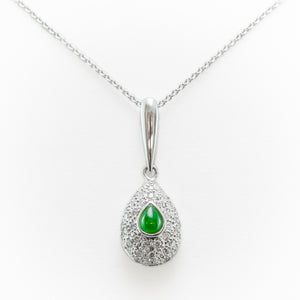Emerald Necklace in White Gold With Diamonds