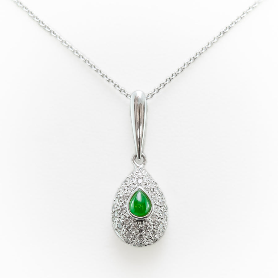 Emerald Necklace in 18ct White Gold With Diamonds